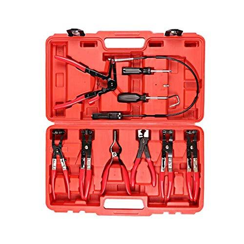 Herramienta 9pcs Cable de alambre largo alcance de la manguera Establecimiento de herramientas, alicates de eliminación universal Kit de herramientas con mandíbula giratoria Alicates de ángulo planos