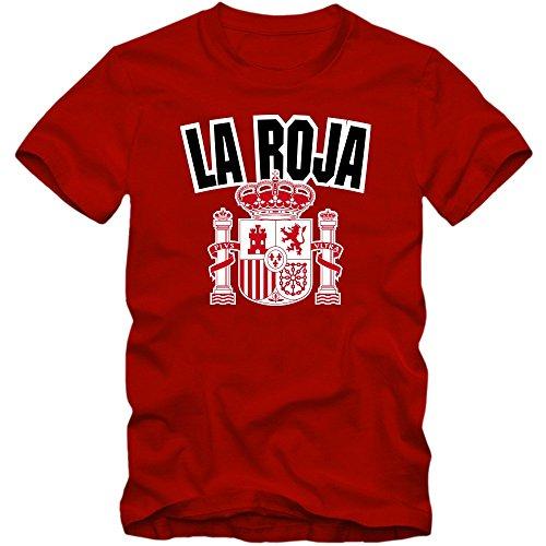 Spanien WM 2018#4 T-Shirt | Fußball | Herren | Trikot | La Furia Roja | Nationalmannschaft, Farbe:Rot (Red L190);Größe:L