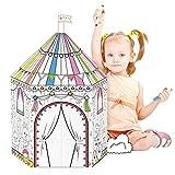 NINOSTAR Circus Cardboards Coloring Playhouse, Paper Tent, Paint, Doodle DIY Art & Craft, Fun Indoor & Outdoor for Girls and Boys, Circus Party Supplies