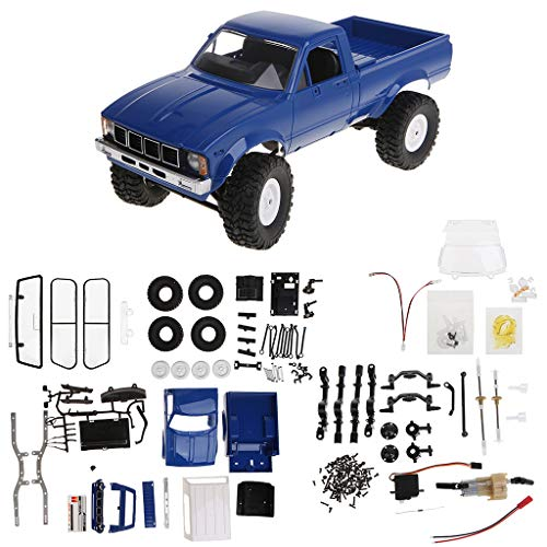 Fmingdou WPL C24 2.4G DIY RC Car KIT 4WD Remote Control Crawler Off-Road Buggy Moving Machine Kids Toys (Blue)