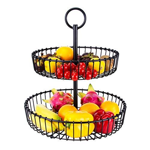 Yadass 2 Tier Obst Etagere, Schwarz Obstkorb aus Metall, 2 Stöckig Dekorativer Obstkorb für Obst Snacks, Küche Dekoration, Rund