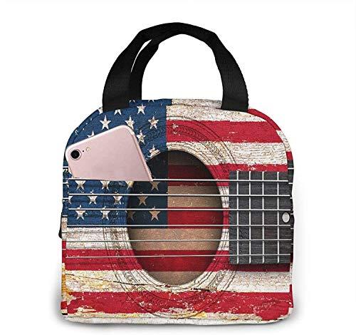 Guitarra acústica antigua con bandera americana Bolsa de almuerzo de moda Bolsa térmica aislada resistente al agua con bolsillo para oficina / escuela / exterior-Negro-Talla única