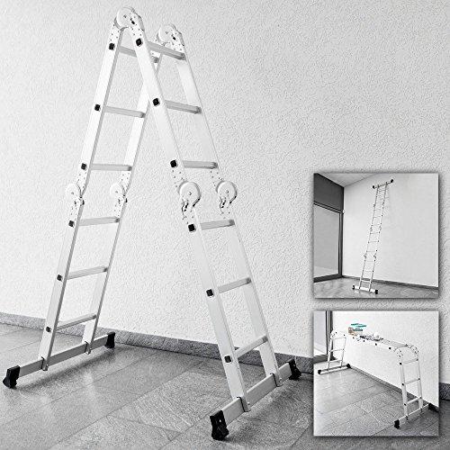 Multifunktionsleiter 3 in 1 Alu Stehleiter Gerüstleiter Klappleiter Anlegeleit