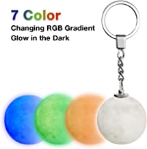 3D Moon lamp with Key Chain Accessories for Keychain Handbag Key Ring Car Key - Safety LED Night Light for Women, Kids Birthday & Christmas Gifts(7 Colors Changing RGB Gradient, Glow in the Dark)