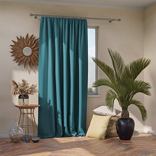AmeliaHome Blackout Vorhang 1 St. Blickdicht, Polyester, Blau, Kräuselband 140x270