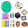 OOTD Sensory Fidget Toys, 22 Pcs Set Stress Relief Anti-Anxiety Tools Bundle Marble Mesh Squeeze Balls Soybean Flippy Chain Liquid Motion Timer Anxiety Autism Rewards Carnival Prizes Pinata Goodie de OOTD