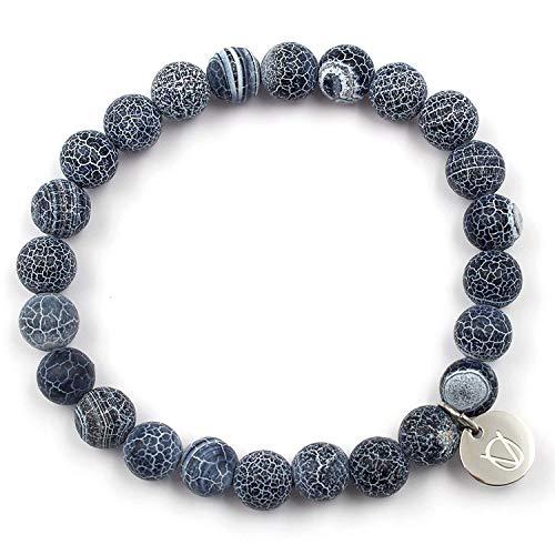 OLE VILLADIS | Naturstein Perlen Armband für Herren und Damen aus marmoriertem Gestein mit elastischem Gummiband | 8 x 185 mm (Costa Adriana)