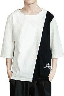 TWIFER Tシャツ メンズ メンズサマーTシャツファッションカジュアルコットンリネンシャツサマーシャツメンズ半袖ベーシックTシャツレジャーシャツシャツトップブラウスソフト通気性快適衣類