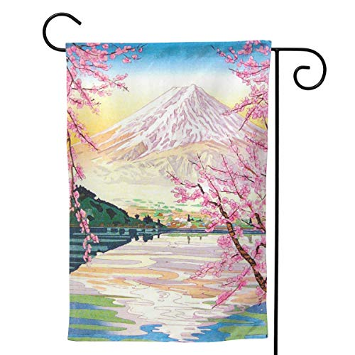 Cool Oriental Japanese Fuji Spring Cherry Tree Art Flag Garden Flag Double Sided Burlap Decorative Yard Banner Garden Flag Holiday Flag for Party Home Outdoor Decoration White 28