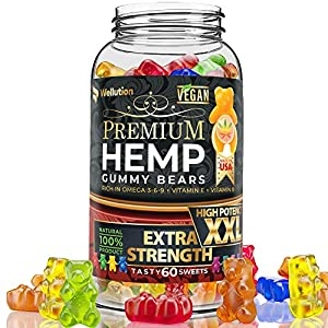 Wellution Hemp Gummies 1,600,000 High Potency - Fruity Gummy Bear with Hemp Oil. Natural Hemp Candy Supplements for Pain, Anxiety, Stress & Inflammation Relief. Promotes Sleep & Calm Mood