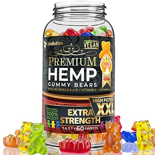 Wellution Hemp Gummies Extra Strength XXL High Potency Vegan - Fruity...
