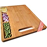 HHXRISE Organic Bamboo Cutting Board For Kitchen, With 3 Built-In Compartments And Juice Grooves, Chopping Board For Meats Bread Fruits, Butcher Block, Carving Board, BPA Free (M-15.2x10.5')…