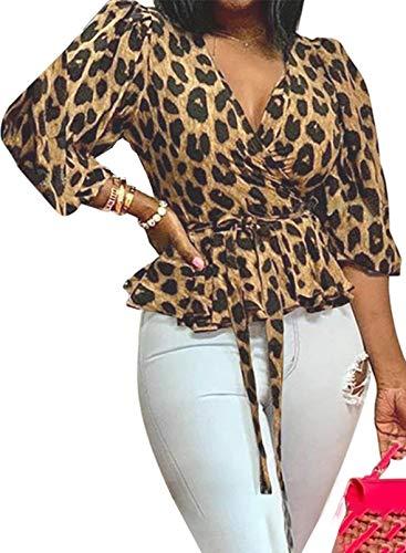 Camisa clásica con Estampado de Leopardo para Mujer, Cuello en V, 3/4, Manga Acampanada, Lazo en la Cintura, Jersey, Top