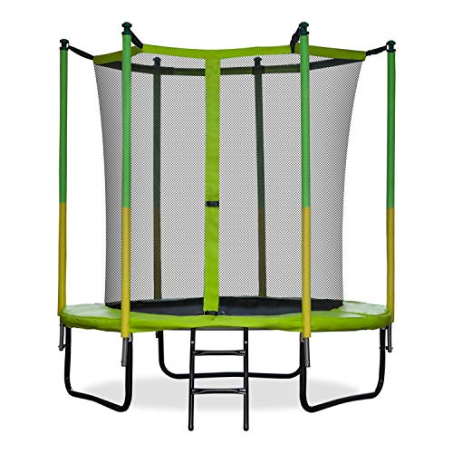 GBU Trampoline with Safety Enclosure Net - 6FT Indoor Outdoor Fitness Trampolines for Kids Recreational Jumping-Bed with Steady-Ladder Anchors Jumping Mat & Spring Cover Padding