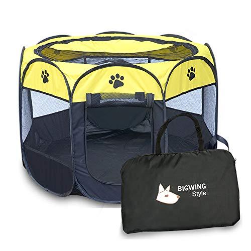 BIGWING - Box portatile pieghevole per cuccioli di cane, gatto, coniglio, porcellino d'India, in tessuto, per interni ed esterni, colore: Giallo