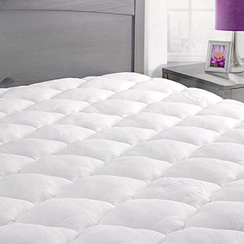 Bamboo Mattress Pad with Fitted Skirt - Extra Plush Rayon from Bamboo Cooling Topper -...