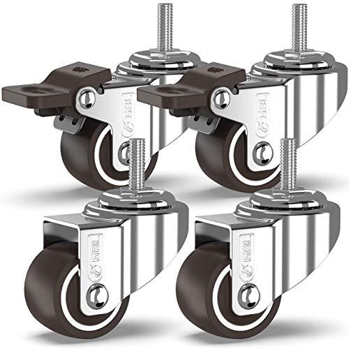 GBL - 4 Klein Rollen für Möbel M6x15mm mit Gewinde 25mm 40KG Transportrollen Set | Lenkrollen mit bremse | Schwerlastrollen rollen für Palettenmöbel | Möbelrollen