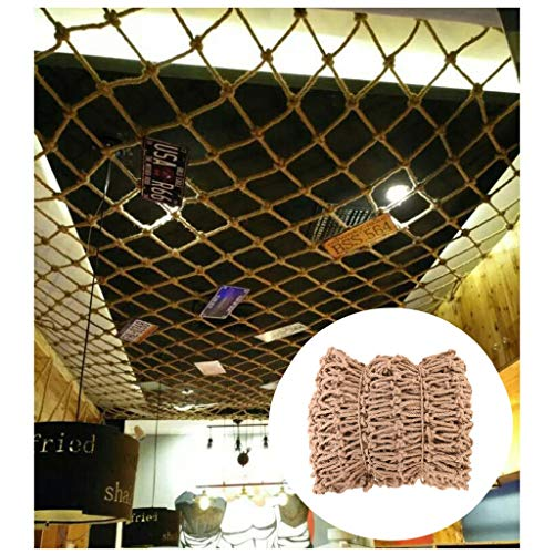 Safe Net Balcony Stair Protection Anti-fall Net Hemp Rope Net Ceiling Decoration,Net Decoration for Party,Natural Jute Material,for Party Festival Balcony Garden,12mm/10cm,Multiple Sizes