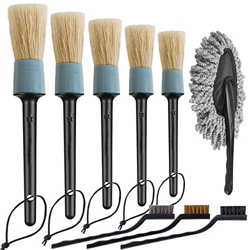 LANNEY Car Detailing Brush Auto Detail Brush Set of 5 Boar Hair Automotive Detail Brushes Kit for Cleaning Car Interior Exterior, Vehicles Wheels Leather Engine Dashboard