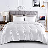HOdo Home King Duvet Cover, 100% Polyester 3pcs Satin Silk Comforter Cover, Ultra Soft and Breathable Bedding Set with Zipper Closure & Corner Ties(White, King)