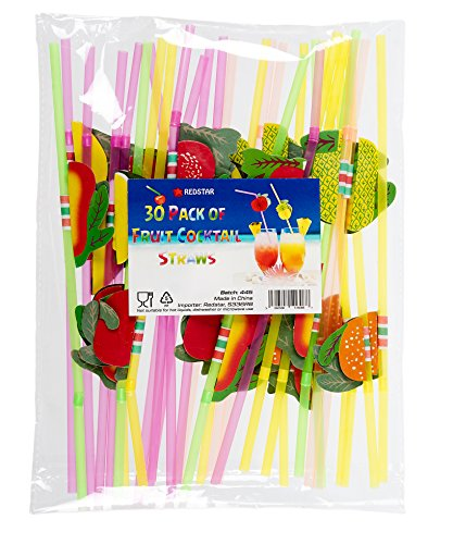 30 Pack of Fruit Cocktail Straws 3D Drinking Straw Party Supplies