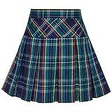 Sunny Fashion Girls Skirt Back School Uniform Peacock Green Tartan Skirt Size 9-10
