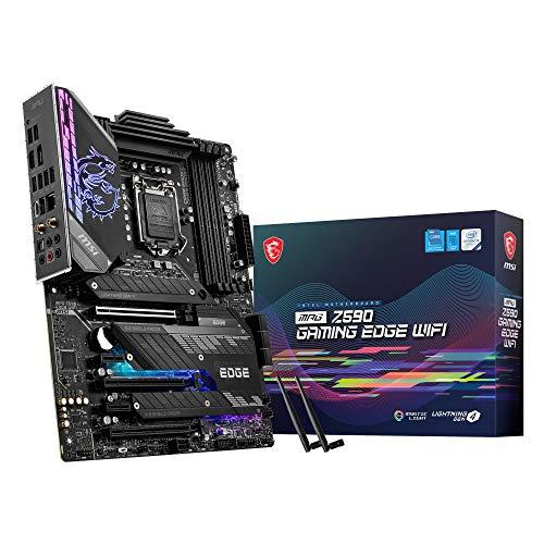 MSI MPG Z590 GAMING EDGE WIFI Scheda Madre gaming ATX Supporta processori Intel Core 11th, LGA 1200 Mystic Light, 14 Duet Rail 75A VRM, DDR4 Boost (5333MHz OC), PCIe 4.0 x16, M.2 Gen4 3 x4, Wi-Fi 6E