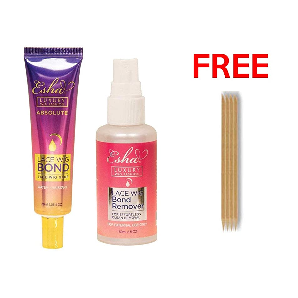 Esha Absolute Wig Glue (Strong Hold) + Lace Wig Bond Remover + 4 Multi Purpose Wooden Sticks for Glue Application