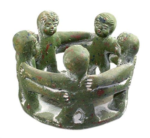budawi® - Freundeskreis mit 5 Freunden aus Ton 16 x 11 cm (grün), Handwerkskunst aus Mexico, Teelichthalter