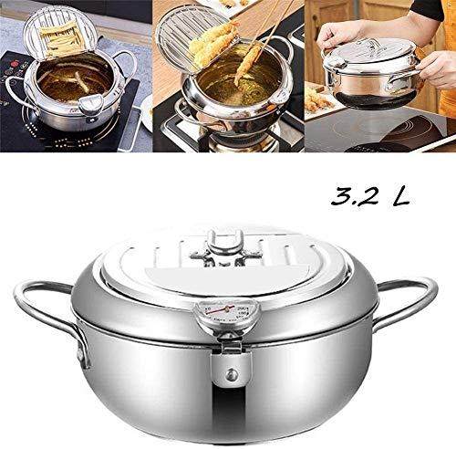 Friggitrice con controllo della temperatura, 2,2 l, con termometro e manico freddo in acciaio inox 304, fornello a induzione universale da cucina 3.2L