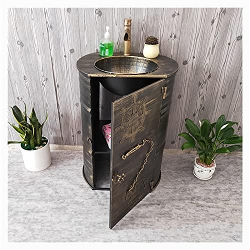 AZYJ Estilo Industrial Lavamanos Bano Pequeno Barra Creativa Muebles De Bano con Lavabo Hierro Forjado Retro con Grifo Lavabo De Pie Bano Los 58 * 45 * 90cm(Color:Bronce)