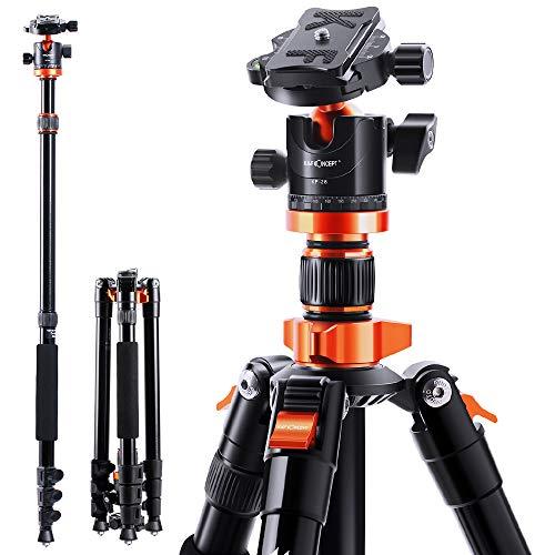 K&F Concept 200cm Stativ, S210 Aluminium Kamera Stativ, Reisestativ mit Einbeinstativ, Fotostativ 360° Kugelkopf mit Schnellwechselplatte für Canon Nikon Sony Olympus