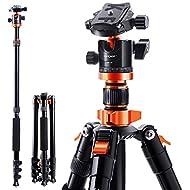 K&F Concept Treppiedi Fotocamera 200cm,Treppiede Reflex Portatible,Treppiede per Fotocamera in Lega di Alluminio per Canon Nikon Sony con Borsa Trasporto per Viaggio Lavoro Versione Rosso e Arancione