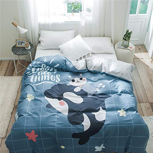 Erbaeo Duvet Cover Set 4 Pieces - Blue Cartoon Whale - Printed Bedding Quilt Cover With Zipper Closure For Bedding Decro, Ultra Soft Microfiber Double Double: 200X200Cm