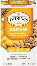 Twinings of London Daily Wellness Tea, Renew Healthy Balancing Fennel & Burdock Root, Lemon & Ginger, Flavored Herbal Tea, 18 Count (Pack of 6)