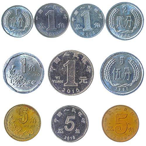 10 Alte Münzen Aus China Offiziell Der Volksrepublik China (vrc) Asiatischen Sammlermünzen Chinesische Fen, Jiao.
