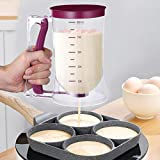 OUNONA Pancake Batter Dispenser Perfect Baking Tool for Cupcakes Waffles Muffin Mix Crepes Cake or Any Baked Goods Bakeware Maker with Measuring Label