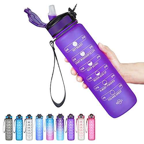 SLUXKE Botella deportiva con cierre de clic, 1 L, antigoteo, sin BPA, botella de agua Tritan para fitness, deporte, bicicleta, camping, yoga, gimnasio