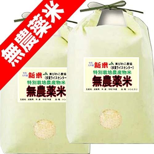 令和 元年度産 無農薬米 滋賀県産 コシヒカリ 10kg (5kg×2) 無農薬栽培米 / 無化学肥料栽培米 (玄米のまま(5kg×2))