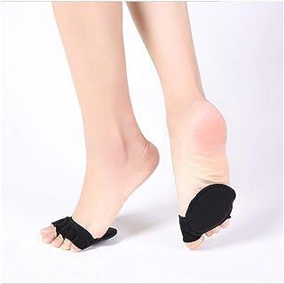 Guomao Medias de tacón Alto de Media Palma for Mujer Calcetines con Cinco Dedos Esteras de Esponja Dedos deslizantes Invisibles Calcetines de Medio pie (Color : Negro, Size : One Size)