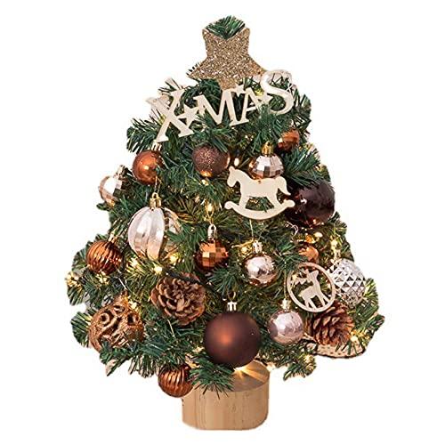 GYLTFL Arbol Navidad Pequeño, Mini árbol de Navidad Artificial de Mesa con Luces y 21 Piezas de Adornos para Decoración de Fiestas Y Vacaciones