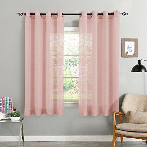 TOPICK Rosa Kurze Gardinen Vorhang für Wohnzimmer transparent mit Ösen Ösenschal dekoschal Voile 175 x 140 cm (H x B) 2er Set