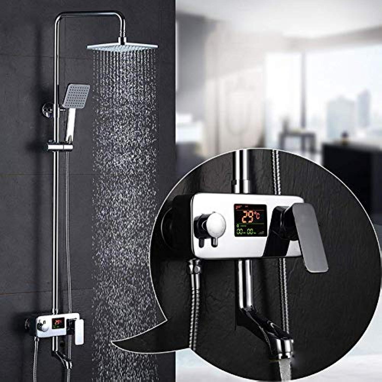 Regenmischer, Duschset, digitales Display, Duschsystem, inkl. Regendusche, Handbrause und Wannenauslauf, poliertes Chrom