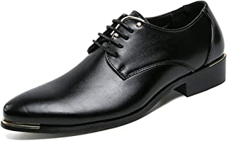 Aomoto Men's Business Oxford Casual Light Comfortable Plain Colored Lace-up Formal Shoes