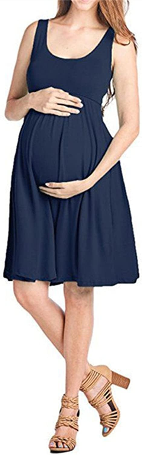 GESELLIE Women's Sexy V Neck Stretch Solid color Maxi Ruched Maternity Dress