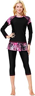 Alangbudu Women Full Body Swimsuit Rash Guard Three Piece Long Sleeve Half Leg Swimwear Swimdress with UV Sun Protection