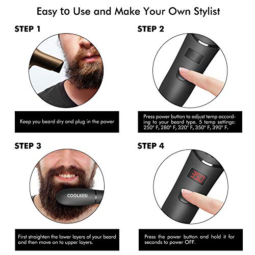 COOLKESI Ionic Beard Straightener for Men, Anti-Scald Hair Straightening Brush with Fast Heating, Portable Ceramic Heat Brush Comb for Home or Travel, Electric Dual Voltage (Black)