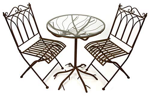 GeKi Trend Edles Bistro Set 3 teilig aus Eisen Antik Jugendstil Garten Balkon Tisch mit Glasplatte und 2 Stühlen antikbraun hochwertig