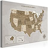 artgeist Canvas Wall Art Print Map of The United States USA Map North America Continent Home Decor Framed Picture Photo Painting Image Grey 60x40 cm / 24'x16' k-C-0113-b-a
