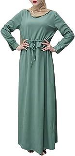 Mode Féminine Élégant Broderie Florale Musulmane Robe en Vrac Décontractée à Manches Longues en Mousseline de Soie Maxi Ro...